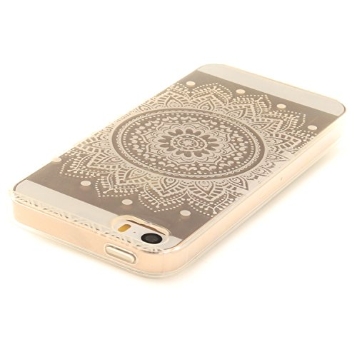 iphone 5 / 5S / SE Hülle,iphone 5 / 5S / SE Case,iphone 5 / 5S / SE Silikon Hülle [Kratzfeste, Scratch-Resistant], Cozy Hut iphone 5 / 5S / SE Hülle TPU Case Schutzhülle Silikon Crystal Kirstall Clear Weiß Mandala