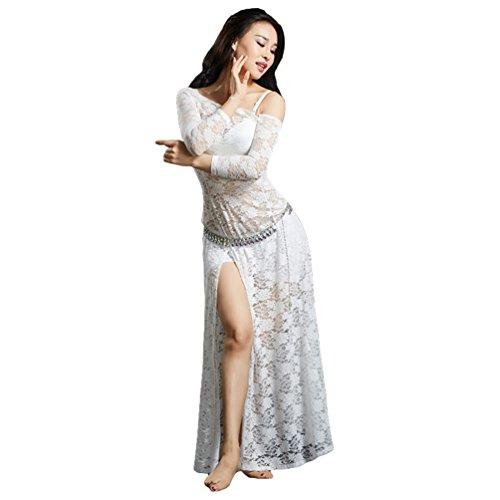 Kostüm Golden Bauchtänzerin - YiiJee Damen Tanzkleidung Bauchtanz Kostüm Eleganten Belly Dance Kleid Bauchtanz Tops Weiß