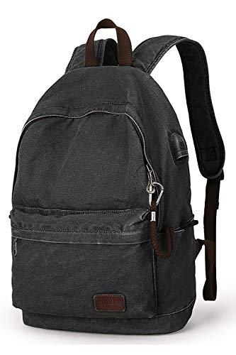 MARKRYDEN Canvas Rucksack, Leichter Anti-Diebstahl-Reise-Rucksack mit USB-Ladeanschluss für herren Damen für die schule für 15,6 Zoll Laptop rucksack