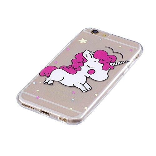 """Coque pour Apple iPhone 6S / 6 ,IJIA Transparent Licorne Mignonne TPU Doux Housse Silicone Case avec Rotatif Bague Support Cover Bumper Shell Etui pour Apple iPhone 6S / 6 (4.7"""") FD58"""
