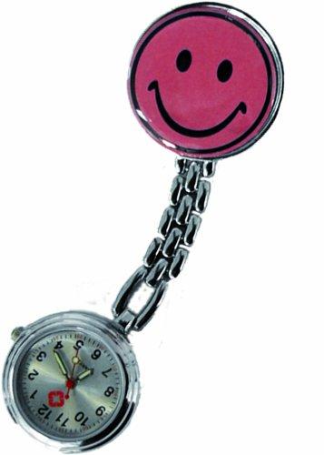 Schwesternuhr Uhr Smiley rosa Clip Kitteluhr Tiga-Med Krankenschwesteruhr Krankenschwesternuhr Pulsuhr