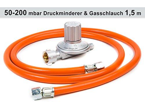Anschluss-Set bestehend aus Druckminderer 50-200 mbar (stufenlos regelbar) + Gasschlauch 150 cm ( für geeignete Gasgeräte Gaskocher, Gasherd, Hockerkocher, Campingkocher, Heizung, Heizofen) Regler