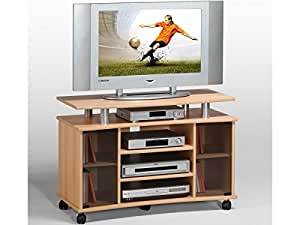 tv wagen fernsehtisch rollwagen tv board hifi unterschrank sideboard holz lago buche amazon. Black Bedroom Furniture Sets. Home Design Ideas