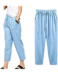 468e9d9445a88 Minetom Pantacourt Femme Été Causal Coton Lin Ample Pantalon Fluide  Confortable 7 8 Longueur Léger