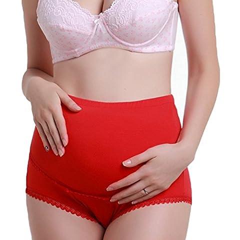 ZhiYuanAN Sous-Vêtements Pour Femmes Enceintes Grande Taille Des Ajustables Haute Taille Culottes De Maternité En Coton Rouge L