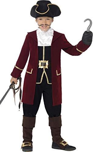 Kapitän Kinder Hook Piraten Kostüm - Fancy Me Jungen Pirat Kapität Büchertag Bösewicht Büchertag Woche Halloween Kostüm Kleid Outfit 4-12 Jahre - Schwarz, 7-9 Years