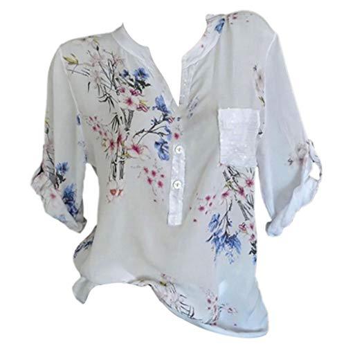Zegeey Damen T-Shirt GroßE GrößEn Blumendruck Schulterfrei Schicker Elegant LäSsige Lose Oberteil Bluse Pullover Tops Shirt Hemd(C4-Weiß,EU-38/CN-L)