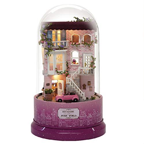 POWER DIY Dollhouse Glaskugel Mit Möbel Holzhaus Spielzeug Für Kinder Geburtstagsgeschenk Mit Staubschutz Musik (Street Corner)
