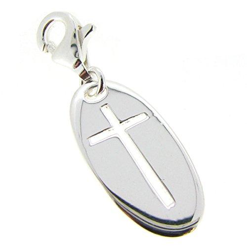 ling-Silber 925 ovales Kreuz Karabinerverschluss ()