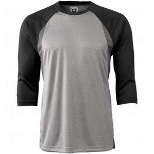 Champro Extra Innings 3/4 Ärmel, Baseball-T-Shirt, Größe L, Grau, Schwarze Ärmel, für Erwachsene, 3/4 Ärmel -