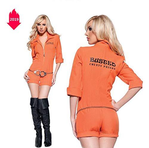 Halloween New Orange Pilotin Kostüm Gefangenen Dienst Lokomotive Fabrik Wartungspersonal Overalls Bühnenkostüme,M