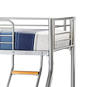 Happy Beds Bunk Bed Atlas Triple Sleeper Solid Metal With 2x Memory Foam Mattresses 3' Single 90 x 190 cm 4'6'' Double 135 x 190 cm