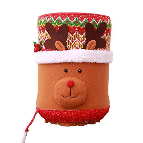 KOBWA - Cubo de Navidad Decorativo, Bonito dispensador de Agua, para decoración de Cubo de Agua, Funda para el Polvo para el hogar (muñeco de Nieve, Papá Noel, Elk)