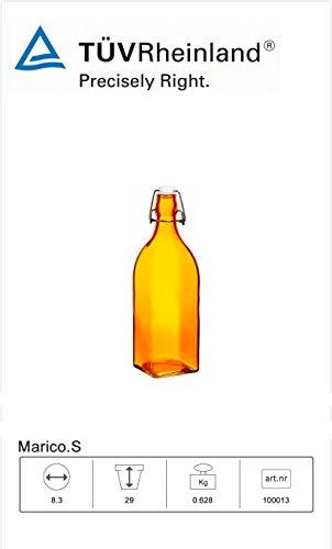 endbare Glasflaschen, Runden 1L / 34oz Flowersea für Öl, Essig, Getränke, Bier, Wasser, Kombucha, Kefir, Soda (Orange, Square) (Swing-top-glas-flaschen)
