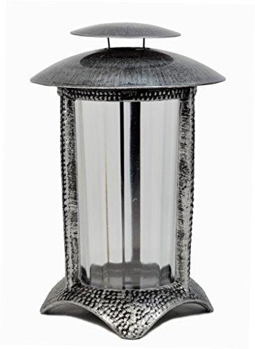 Grablampe in silber/schwarz (Friedhof Dekoration Lichter)