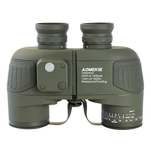 Aomekie Fernglas mit Nachtsicht Entfernungsmesser Kompass 7X50 HD Wasserdicht Antinebel BAK4 Porro Prisma Stickstoff gefüllt (Armeegrün)
