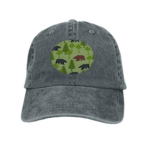 Baseball Cap Adjustable Athletic Custom Trendy Hat for Men and Women Bears Woods as Grizzly Trees Ornament Animals Alaska Russian Carbon