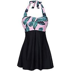 FeelinGirl Vestido de Traje de Baño Una Pieza Talla Grande con Pantalones Seguros para Mujer (3XL(ES 48-50), Rosa-Hoja)