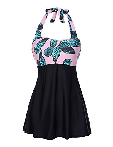 FeelinGirl Bikini Tankini Bademode Badeanzug Badekleid Strandkleid Neckholder Einteiliger Push up Badebekleidung mit Hotpants Bauchweg Top, M(EU 36), Flieder
