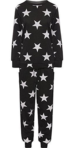Islander Fashions Frauen Plus Gr��e Wei� Star Print Jogging Anzug Top Hosen Loungewear Co-ord Trainingsanzug Schwarz UK 18