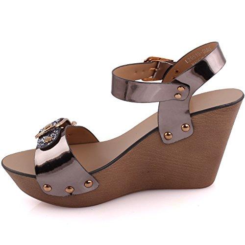 Unze Femmes' Whitney cuir partie métallique se réunir Carnival Wedge Sandals UK Size 3-8 Gris