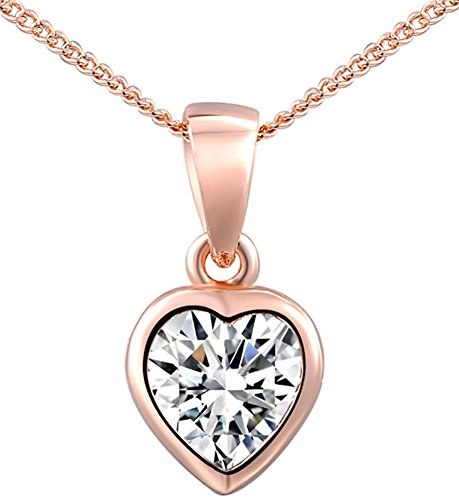 SaySure - 14K Gold Plated Stellux Crystals rose golden Heart necklace