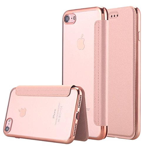 "Snewill Compatible iPhone 8 Hülle, iPhone 7 Hülle, iPhone 8/7 Case, [Ultra Slim] PU Leder Folio Flip Brieftasche Hülle mit Kartenschlitz Back Cover für iPhone 8/7 4.7\""-Rose Gold"