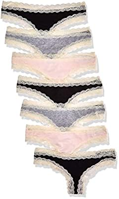 Iris & Lilly BELK015M7 Tanga, Multicolour (Black/Melange/Soft Pink), 38 (Herstellergröße: Medium), 7er-Pack by Iris & Lilly