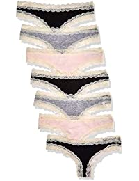 Iris & Lilly BELK015M7 Tanga, Multicolour (Black/Melange/Soft Pink), 38 (Herstellergröße: Medium), 7er-Pack