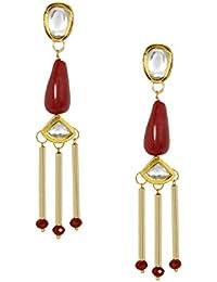 AccessHer Gold Plated Ruby Beads Kundan Dangler Earrings For Women And Girls
