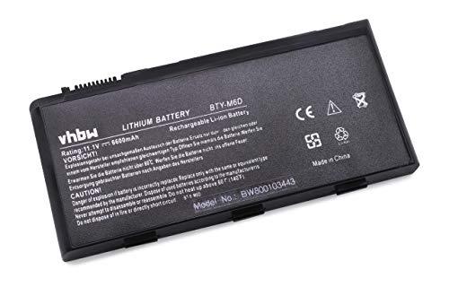 Batterie LI-ION 6600 mAh 11.1 V noir compatible pour MSI E6603, GT660, GT660-003US, GT660-004 CA, GT660-448PL, GT660 de i7-740QM, GT660R etc. remplace BTY-M68 BTY-M6D