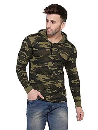 Rezalia Men's Military Camouflage Hood Full Sleeve Cotton T-Shirt(CAMO-Hood-Full-Green-S)