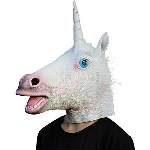 Supmaker Deluxe Novelty Halloween Costume Party Latex Animal Head Mask Testa di unicorno