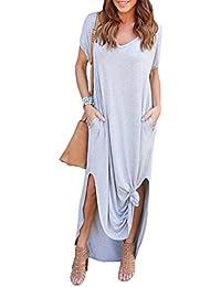 Ropa De Mujer Suelta Bolsillo Vestido Largo Falda De Cintura Alta Impreso