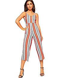 0e0840fb6dd4 WearAll Women s Strappy Striped Culottes High Waist Jumpsuit Shorts  Trousers Ladies New 6-14