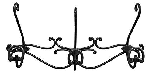 Headbourne 8059e 40,6cm über der Tür Metall Hakenleiste/Garderobe mit 3Doppelhaken und Antik Bronze-Finish schwarz Nickel - Metall-finish Coat Rack