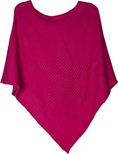 styleBREAKER Feinstrick Poncho mit Stern in 3D Struktur, Rundhals, Damen 08010051, Farbe:Pink
