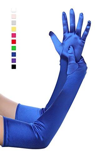 BABEYOND Damen Handschuhe Satin Classic Opera Fest Party Audrey Hepburn Handschuhe 1920er Stil Handschuhe Elastisch Erwachsene Größe Ellenbogen bis Handgelenk Länge 52/55cm (Lang Glatt 52cm / Blau) (Länge Stretch-satin-handschuhe)