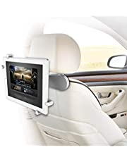 ZAZZ Car Headrest Flexible Tablet Mount (Aluminium), Swivel Between headrests,Compatible with iPad/Kindle Fire and Tablets (Off White)