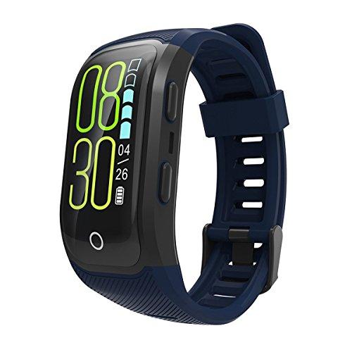 TYWZF Pulsera Actividad GPS Bluetooth IP68 Monitor De Frecuencia Cardíaca De Natación Resistente Al Agua Podómetro Monitorización De Sueño Saludable para iOS Teléfono Android,Blue