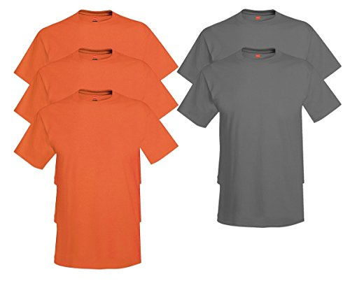 Hanes Men's Tagless Comfortsoft Crewneck T-shirt (Pack of 5) 3 Orange / 2 Smoke Gray
