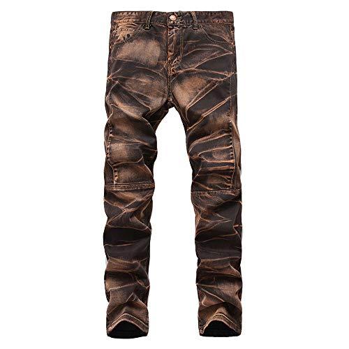 Geili Jeans Hose Herren Lang Jeanshosen Vintage Used Look Wasserwäsche Denim Hosen Männer Übergröße Slim Fit Straight Jeans Basic Freizeithose Reißverschluss Cargo Hose