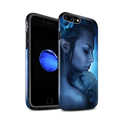 Officiel Elena Dudina Coque / Brillant Robuste Antichoc Etui pour Apple iPhone 7 Plus / Cleopatra/Serpent Doré Design / Les Animaux Collection Le Calin/Chiot/Chien