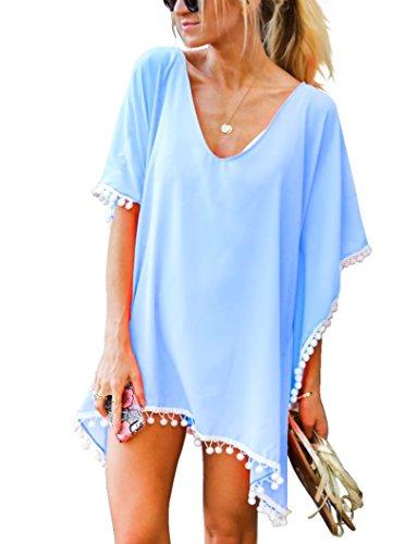 Damen Strandponcho Sommer Überwurf Kaftan Strandkleid Bikini Cover Up Freie Größe Himmel Blau