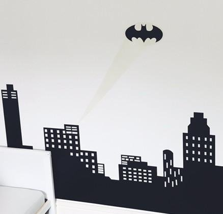 V&C Designs (TM) Large Glow in the Dark Batman Skyline Wall Sticker Decal Boys Room Superhero Theme Mural Bedroom Playroom
