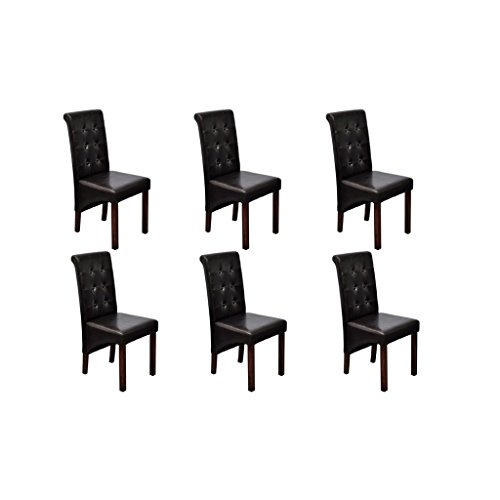 vidaXL 6x Esszimmerstuhl Klassik Braun Stuhlgruppe Hochlehner Küchenstuhl