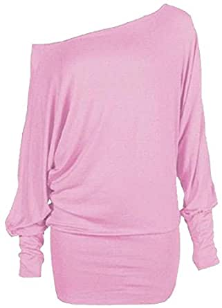 XCLUSIVE NEW LADIES PLUS SIZE OFF SHOULDER BATWING SLEEVE BAGGY TUNIC SLOUCH TOP MINI DRESS 8-20 (8-10, baby pink)