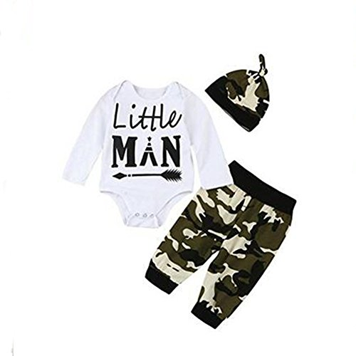 3 STÜCK Neugeborene Baby-Jungen-nette Buchstabe-Druck-Spielanzug + Tarnungs-Hosen + Hut-Ausstattungs-Satz (12-18 Monat, Weiß)