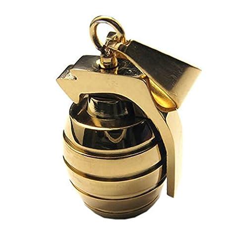 KONOV Bijoux Pendentif Collier Homme - Chaîne 45 cm - Grenade - Style Militaire Armée - Acier Inoxydable - Fantaisie - Homme - Couleur Or - Avec Sac Cadeau
