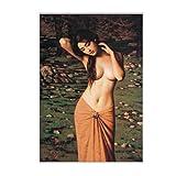 xiaohuanzi Classica Pittura A Olio Semi-Nuda Donna su Tela Poster E Stampe Quadri d'Arte per Soggiorno Pittura Murale Decorazioni per La Casa-60X80 Cm-Senza Cornice